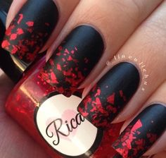 Red an black nails