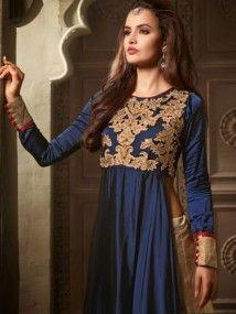 Blue with Beige Latest Indian Designer Fancy Salwar Kameez Suit