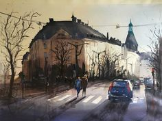 Humlegården, Stockholm, Stefan Gadnell Watercolor
