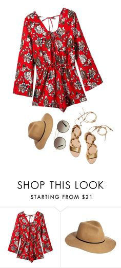 """""""Summer Romper"""" by arilubl ❤ liked on Polyvore featuring Chicnova Fashion, Loeffler Randall, ASOS, Prada, summerstyle, contestentry, fedorahat, summer2016 and summerromper"""