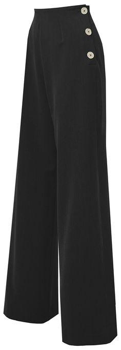 d0494c3f266f37 Pretty Retro SWING PANTS Vintage 40s Classic MARLENE Hose Trousers Schwarz