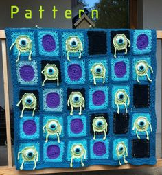 Mr. Mike Wazowski crochet blanket pattern/afghan pattern/Monsters Inc. baby crochet blanket $6.00 USD