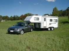 Venture Fifth Wheel caravan being towed by a Ford Falcon Camper Trailers, Campers, Fifth Wheel Trailers, Semi Trailer, Ford Falcon, Caravans, Motorhome, Recreational Vehicles, Google