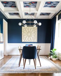 Dining Room Paint Colors, Dining Room Blue, Dining Room Walls, Dining Room Design, Living Room, Dining Room Decorating, Decorating Ideas, Decor Ideas, Dining Room Wallpaper