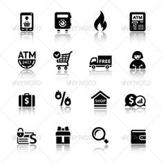 Shopping Icons  #GraphicRiver         Set black pictograms.