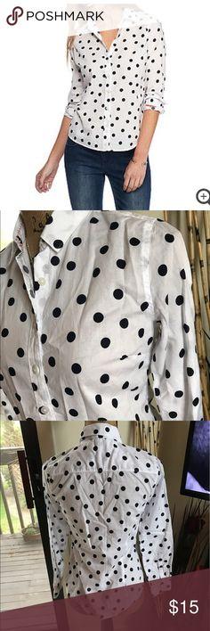 """🆕 ζrΟϣͷ & ivΥ polka dot blouse Super cute blouse! Size is """"pp"""" and best fits a petite small-xs. 100% cotton. 🛍Bundles of 5 or more items get 50% off!-either make offer on the bundle or comment on each item you want and I'll make a separate listing!🛍 📣Buyer responsible for extra shipping when likely to be over 5 lbs 📣 ❌Absolutely no trades!❌ 🔵Color may vary in person!🔴 ◾️Serious buyers only!▪️ 😻 cat friendly home! 😻 🙏🏼thank you!🙏🏼 Tops Button Down Shirts"""