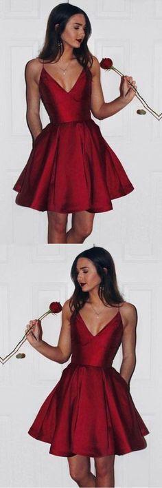 6a448e894bc Burgundy Sweetheart Spaghetti Sleeveless Homecoming Dress