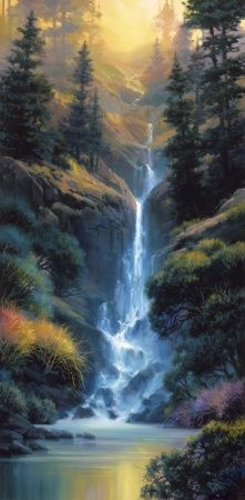 Landscape artist Charles Pabst brings color and light to Kaibab Canyon Falls and is featured at Marcus Ashley Gallery. Fantasy Landscape, Landscape Art, Landscape Paintings, Beautiful Paintings, Beautiful Landscapes, Waterfall Paintings, Beautiful Waterfalls, Nature Pictures, Amazing Art