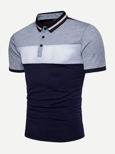 Shop Men Cut And Sew Panel Polo Shirt online. SHEIN offers Men Cut And Sew Panel Polo Shirt & more to fit your fashionable needs. Sewing Shirts, Japanese Streetwear, Shirt Refashion, Cotton Style, Shirt Designs, Street Wear, T Shirt, Shirt Men, Mens Fashion