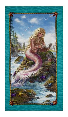 """Artworks II Digital Mermaid 24"""" Panel Multi from @fabricdotcom  Designed by Liz Goodrick-Dillon for Quilting Treasures, this cotton print panel features a rare glimpse at a mermaid enjoying her favorite book. It measures approximately 44"""" x 24"""" and is perfect for quilting, apparel and home decor accents. Colors include white, nude, yellow, burnt orange, orange, shades of brown and blue, purple, lavender, mustard, shades of pink and green, grey, cream and taupe."""