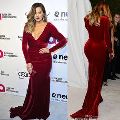 Discount Khloe Kardashian 2014 Oscar Party Wine Red Evening Dresses Long Sleeves Mermaid Velvet Red Carpet Celebrity Dresses Dhyz 01 Online with $109.66/Piece | DHgate