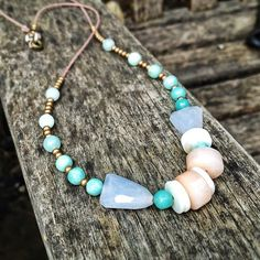 Made by me!  #forthemakers Paris Pebbles necklace with added chalcedony and brass beads