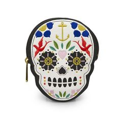 Sugar Skull With Flowers Die Cut Coinbag by Loungefly. Leeann would love this!