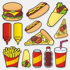 Shop Junk Food Icon Set Stickers created by fractal_gr. Food Stickers, Cartoon Stickers, Tumblr Stickers, Cute Stickers, Wort Collage, Concession Food, Healthy Food Habits, Barbie Food, Food Cartoon