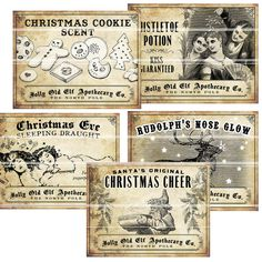 Antique Christmas Potion Wine Labels 4.25 x 3.25 digital collage sheet decorations for your holiday dinner parties printable cheer reindeer. $12.00, via Etsy.