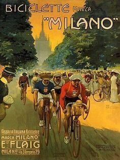 Vintage Italian Poster by Osvaldo Ballerio 1912 Vintage Italian Posters, Vintage Advertising Posters, Poster Vintage, Vintage Travel Posters, Vintage Advertisements, Velo Vintage, Vintage Cycles, Vintage Ads, Vintage Leather