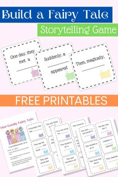 A fun fairy tale storytelling game for the whole family! Perfect for a homeschool fairy tale unit too. Get creative and create your own fairy tale with this fun FREE printable game. Educational Activities For Preschoolers, Literacy Activities, Free Printable Cards, Free Printables, Fairy Tale Activities, Fairy Tales Unit, Beloved Movie, Kindergarten Learning, Chapter Books
