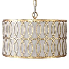 gabby+home+peterson+drum+pendant+-+Interlocking+metal+finished+in+an+antique+gold+is+overlaid+on+a+linen+shade+for+a+warm,+transitional+&+modern+feel+in+our+Peterson+drum+pendant. Drum Ceiling Lights, Gold Ceiling Light, Modern Ceiling, Room Lights, Ceiling Lamp, Hanging Lights, Drum Pendant, Lantern Pendant, Pendant Lighting