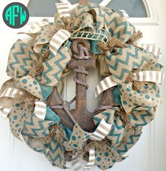Burlap Anchor Wreath Summer Nautical Decor by AFWifeCreations