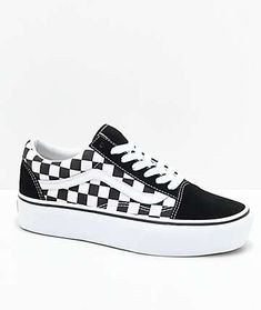 c8c4e6405e9012 Vans Old Skool Black   White Checkered Platform Skate Shoes Tenis Old  School
