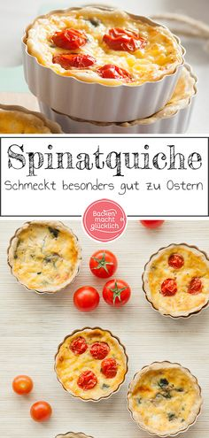Spinach tartlets with cheese Baking makes you happy - Fresh spinach leaves, spicy cheese, a creamy pour and a crusty dough crust – these are the elemen - Quiches, Spinach Quiche, Savoury Baking, Salty Cake, Vegan Breakfast Recipes, Nutrition, Pampered Chef, Food Lists, Food Design