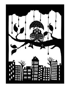 Shelter Eachother - Cut Paper Art Print via Etsy