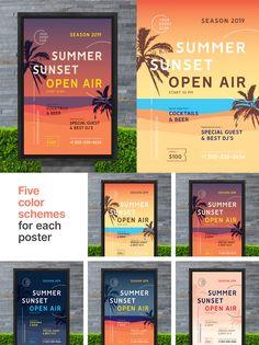 Summer Flyer / Poster Template AI, EPS Poster Templates, Best Dj, Summer Sunset, Special Guest, Design, Design Comics