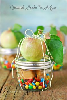 Caramel Apple In A Jar ~ Can be assembled before the party, used for decorations and given as a gift!