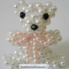 Beaded Teddy Bear ~ Free Tutorial at www.beadjewelrymaking.com