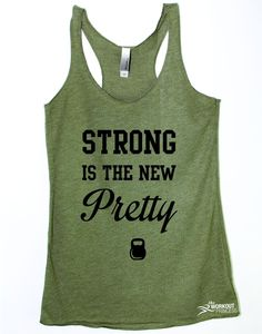 Strong is the new pretty, motivational tank. Print Color will be black . If you choose a dark shirt we'll change the print to white . We make all items by hand and we make them as you order. PLEASE lo                                                                                                                                                     More