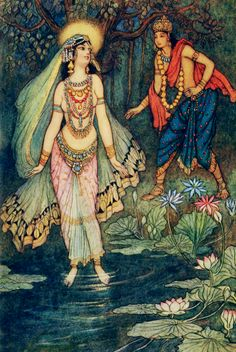 """Shantanu meets the goddess Ganga"" illustration by Warwick Goble  from Indian myth and legend, by Donald Alexander Mackenzie, London, 1913"