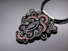 Gray black soutache necklace with Onyx.