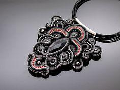 Gray black soutache necklace with Onyx.