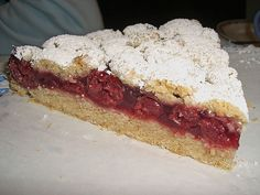 """Cherry crumble cake is a German """"Streuselkuchen"""" with sour cherries. It is extreme easy to make and baking beginners will love it. Classic Kaffee and Kuchen cake."""