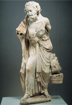 [Unknown, Old Market Woman, New York, ca.150–100BCE, Marble, Hellenistic Period] One of the finest preserved statues of this type depicts a haggard old woman bringing chickens and a basket of fruits and vegetables to sell in the market. The purpose of this statue is unknown but they attest to an interest in social realism absent in earlier Greek statuary. It is a complete stark contrast to how the images that are often depicted of the young beautiful that has often dominated the greek art.