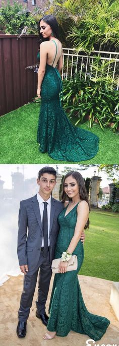 2018 prom dress, elegant straps green lace mermaid long prom dress with train, formal evening dress #longpromdresses