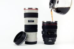 """coffee mugs that look exactly like canon and nikon lenses! piggy-banks that look just like your dslr!  pretty sure I """"need"""" one! :D by @deelene"""