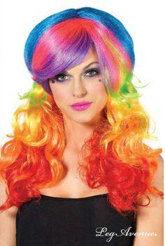 #Perruque #multicolore arc-en-ciel, avec couettes. Perruque très longue, ondulée, synthétique brillant. #arcenciel