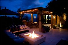 Lighting : Amazing Exterior Patio String Lighting Fixtures Under Pergola For Contemporary Home With Outdoor Fire Pit And L Shape Modern Sofa Chic Outdoor Patio String Lighting Ideas Patio String Lights Ideas. Outdoor Pergola, Pergola Plans, Outdoor Fire, Backyard Patio, Backyard Landscaping, Pergola Kits, Backyard Ideas, Pavers Patio, Patio Stone