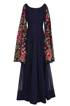 Navy blue floral embroidered anarkali with cape sleevees available only at Pernia's Pop Up Shop.