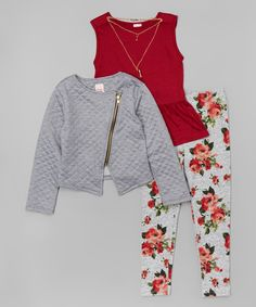 This Burgundy Tunic Set - Girls by Just Kids is perfect! #zulilyfinds