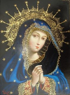 Virgin Madonna, Cusquena School of Art; stars, symbols of heaven, decorate her blue cloak.