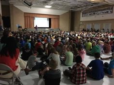 In the gym at Westfield, I presented to an audience containing around 700 kids grades 1-6 — my single biggest school-visit audience ever.