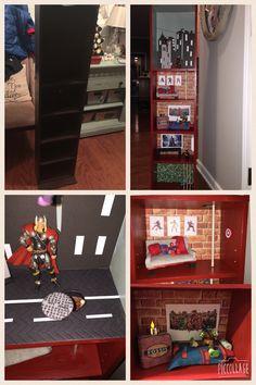 Diy Superhero house. Media cabinet turned into dollhouse.