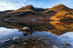 High Crag and High Stile from Buttermere water, Lake District.