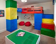 Wonderful Kids Room With Lego Storage Cube : Contemporary Lego Kids Room  With Storage Space With Red Pouffe