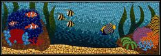 Colourful underwater scene featuring clownfish amongst anemone, corals on a reef & sea grasses mosaic mural created in ceramic tiles by Brett Campbell Mosaics