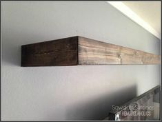 shelf makeover lack with 1x4s stained and mitered, glued to side