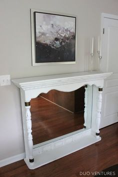 Duo Ventures: Dresser Top to Faux Fireplace (living room fire place ideas mantels) Refurbished Furniture, Repurposed Furniture, Furniture Makeover, Painted Furniture, Faux Fireplace Mantels, Mantles, Fireplace Ideas, Diy Furniture Entertainment Center, Dresser Top