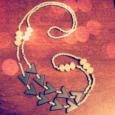 Chevron Necklace @Etsy $32  #jewelry #festival #necklace #geometric #tribal #chevrons #black #hemalyke #crystal